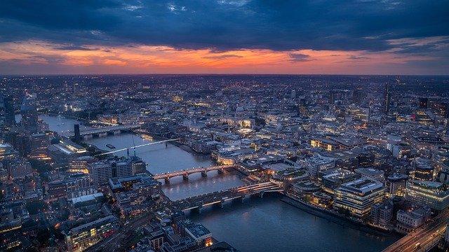 The bird view of London sunset